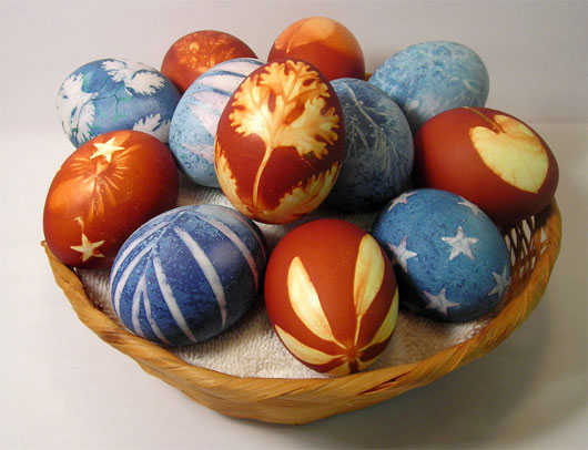 easter eggs covered with natural dyes