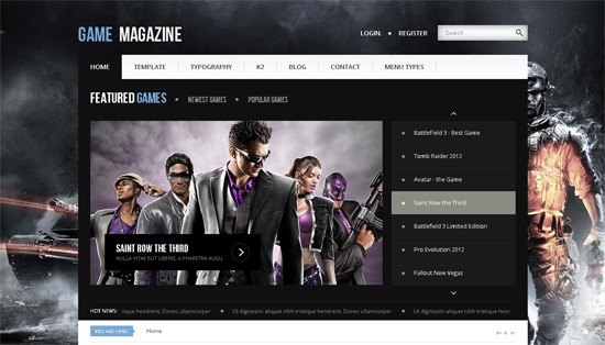 Game Magazine Joomla Template