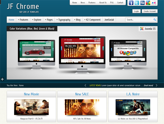 JF Chrome Joomla Template
