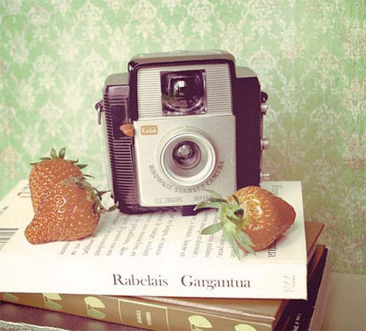 Camera and Strawberries