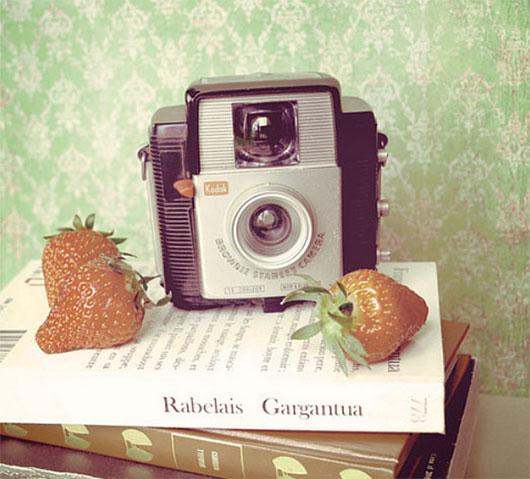 Camera and Strawberries