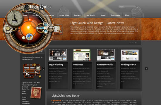 showcase of unique steampunk web design resources