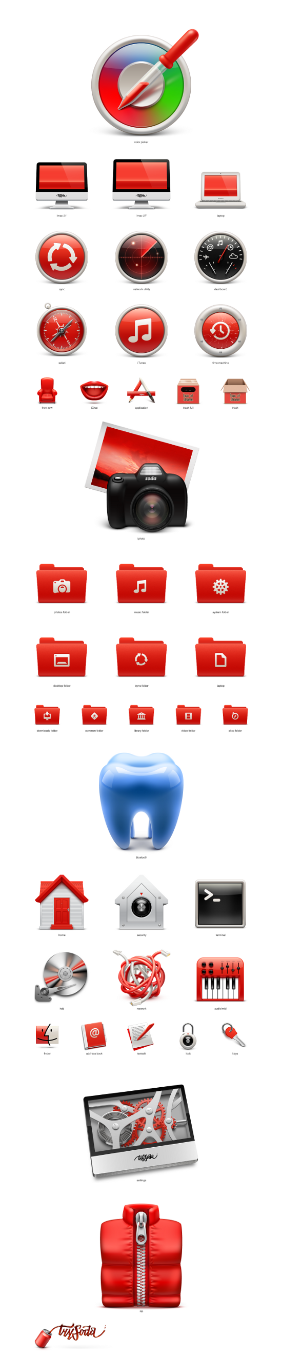 Exclusive Vector Freebie: Soda Red Mac OS Icons