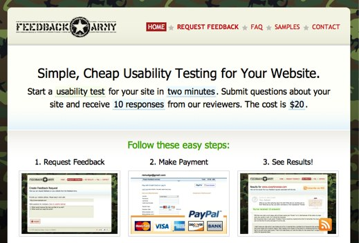 feedback army for website usability testing