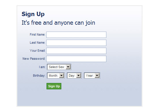 Facebook-like Registration Form with jQuery