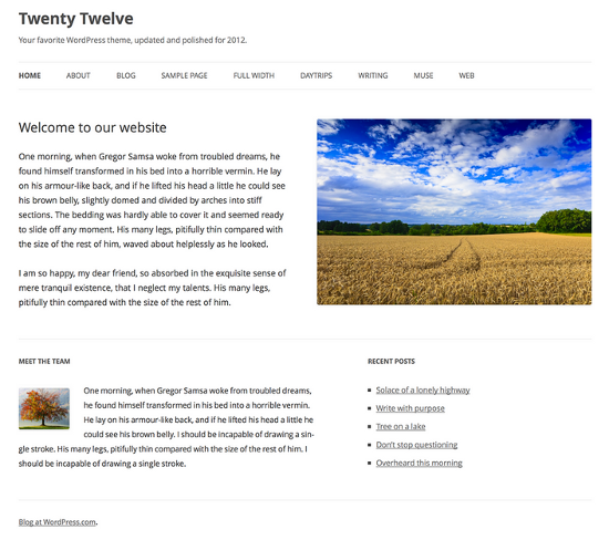 Twenty Twelve WP Theme