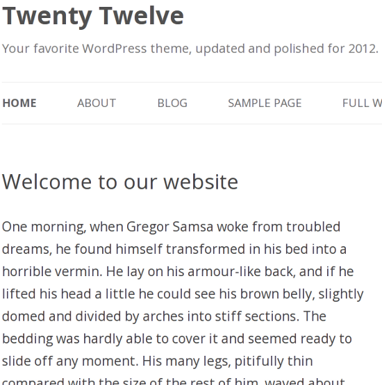 Open Sans Typeface in Twenty Twelve
