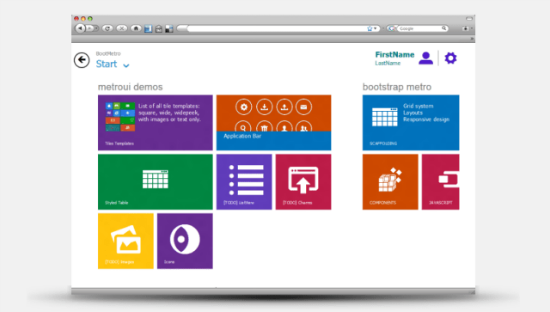 BootMetro: Framework for Websites in Windows 8 Design