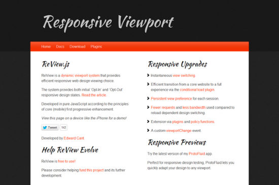 ReView.js Changes Viewports In Responsive Designs With a Single Mouse Click