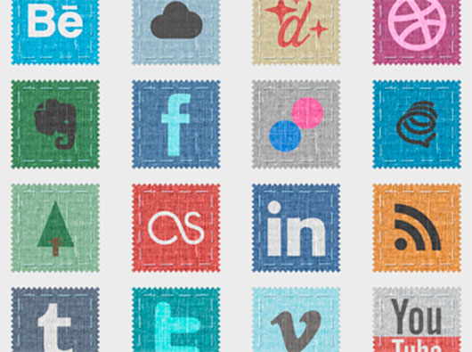 Fabric Social Icon Set by Kevin Harris