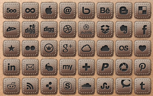 Leather Social Icons Set by Sylvain Guizard
