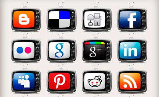 Television Social Media Icons Set