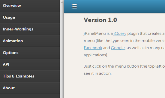 jPanelMenu: Slick Navigation-Sidebar With CSS Animations And jQuery