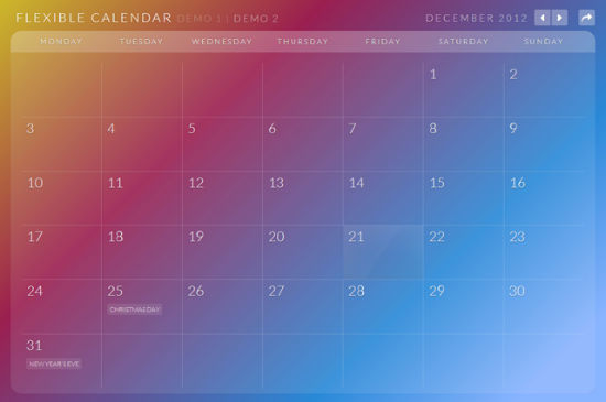 Calendario for jQuery Allows For A Flexible And Responsive Calendar On Your Website