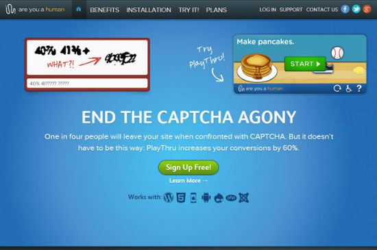 Fed Up with Unreadable: Are You a Human realises Captchas in the Form of Simple HTML5 Games