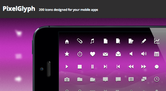 Pixelglyph: 200 free PNG Icons for Developers of Mobile Websites and Apps (+ Giveaway)