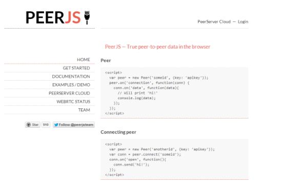 Peer.js Homepage