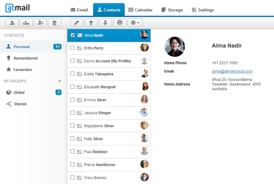 Atmail Cloud | Contacts
