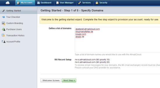 Atmail Cloud   Step 1 Setup Wizard