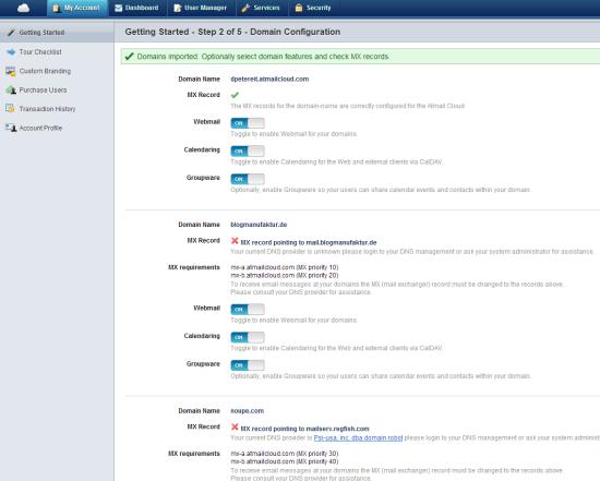 Atmail Cloud   Step 2 Setup Wizard