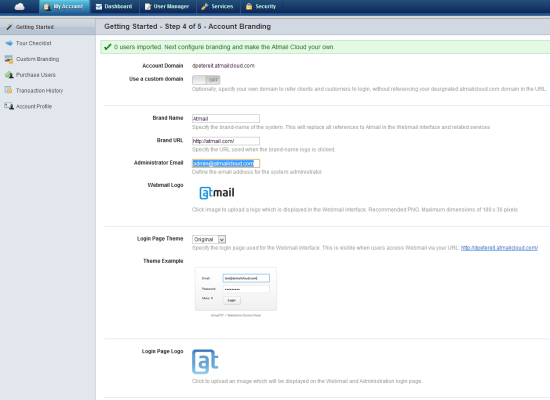 Atmail Cloud | Step 4 Setup Wizard