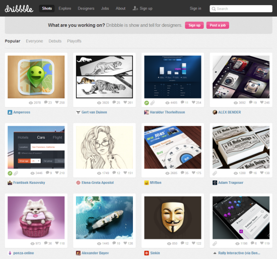 Dribbble: Great, but hard to keep track of