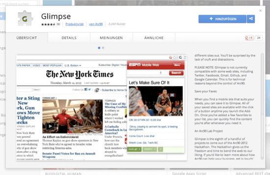 Glimpse, a Chrome Extension for Mobile Web Developers
