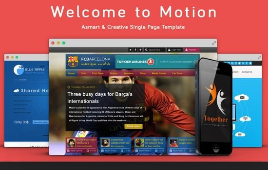 single page PSD web template.