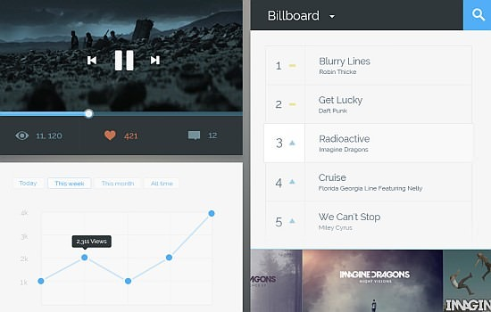 flat music player UI widget.