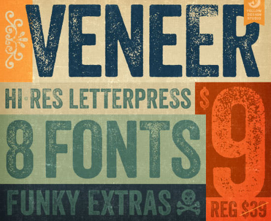 Veneer Font Family Bargain: Distressed Typeface for Next to Nothing