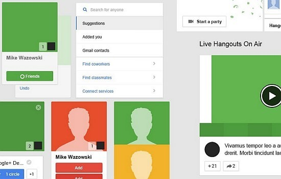 Google+ Template GUI