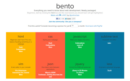 Bento: One-Stop Shop for Online-Courses on Web Development