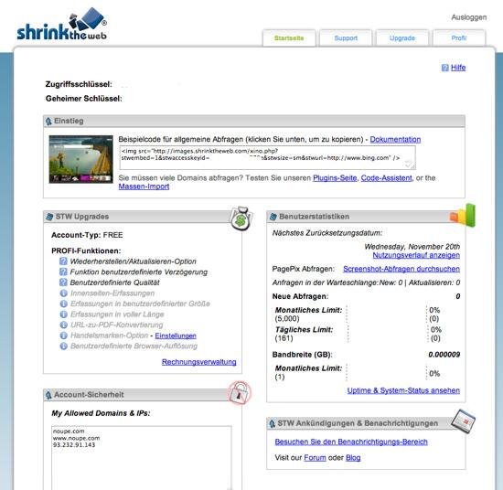 Shrink The Web: Dashboard