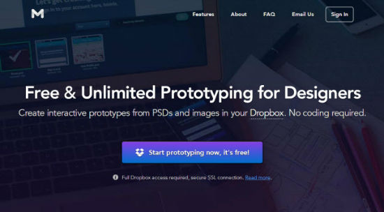 Marvel: Free Website Prototyping Tool for Photoshop-Dropboxers