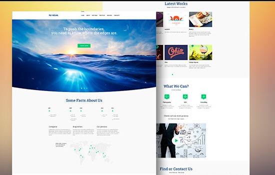 Aqual landing page PSD