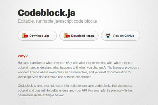 Codeblock.js: Edit and Run JavaScript Directly from Within Your Browser