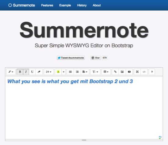 Summernote: Powerful WYSIWYG-Editor for Bootstrap 3