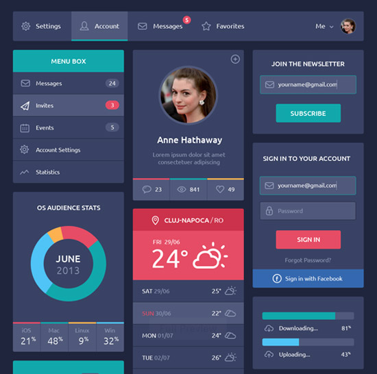 Flat-Design-UI-Components