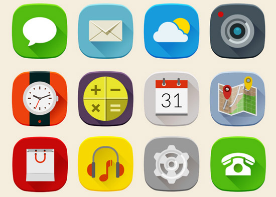 Long-Shadow-Mobile-Icons-Set