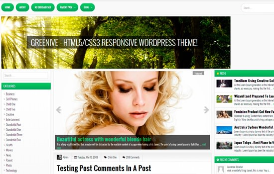 Greenive WP theme