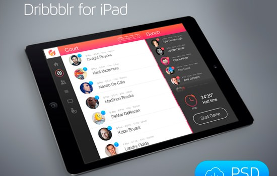 PSD Dribbblr for iPad