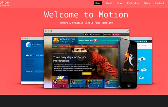 motion HTML template