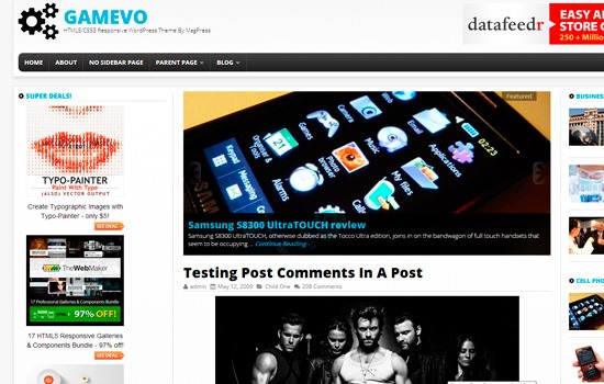 Gamevo WP theme