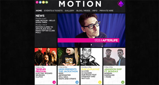 Motion Nightclub Website