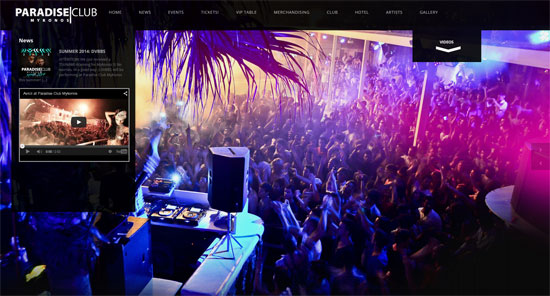 Paradise Nightclub Web Design