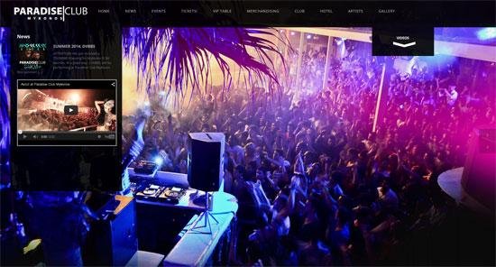 Paradise Nightclub Web Design