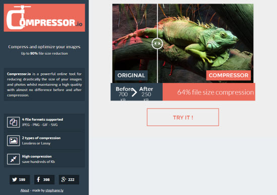 Compressor.io: Free Tool Reduces The File Size of Your JPEG, PNG, GIF or SVG by up to 90 Percent