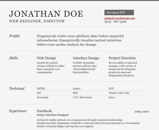 Example Of Resume Html Sample Resume Template