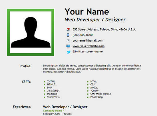 25 free html resume templates for your successful online for Simple php page template