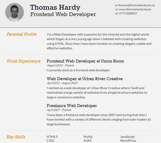 25 Free HTML Resume Templates for Your Successful Online Job – Resume Samples for Job Application